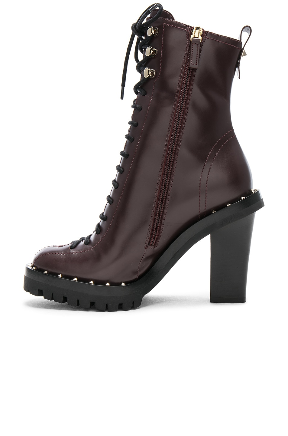 Image 5 of Valentino Leather Soul Rockstud Boots in Deep Ruby