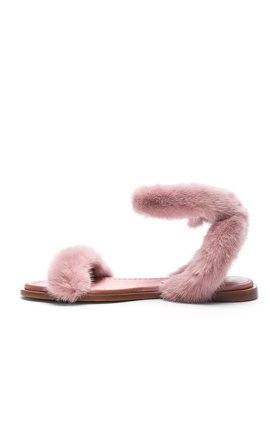 c12544aba03a Image 5 of Valentino Mink Fur Sandals in Lipstick