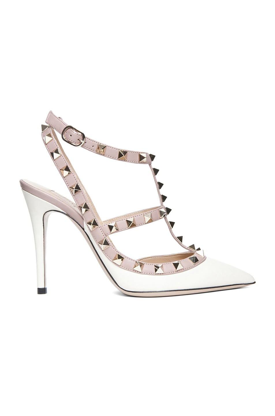 Image 1 of Valentino Rockstud Leather Slingbacks T.100 in Light Ivory