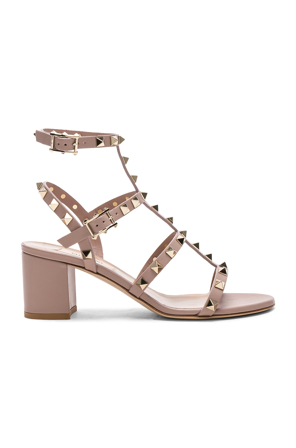 Image 1 of Valentino Leather Rockstud Sandals in Poudre