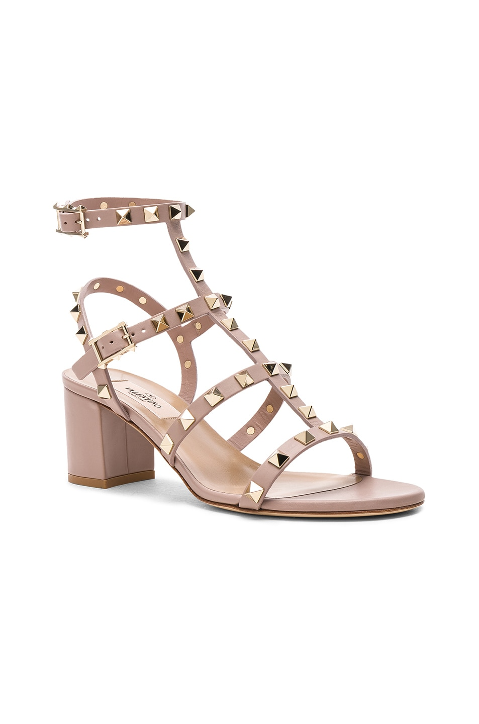 Image 2 of Valentino Leather Rockstud Sandals in Poudre