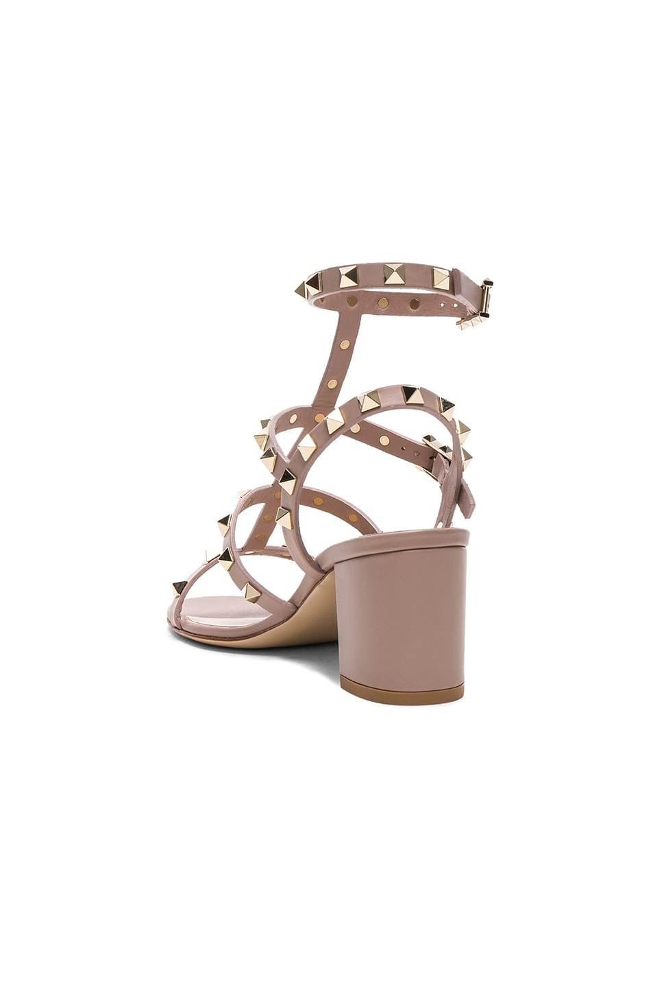 Image 3 of Valentino Leather Rockstud Sandals in Poudre