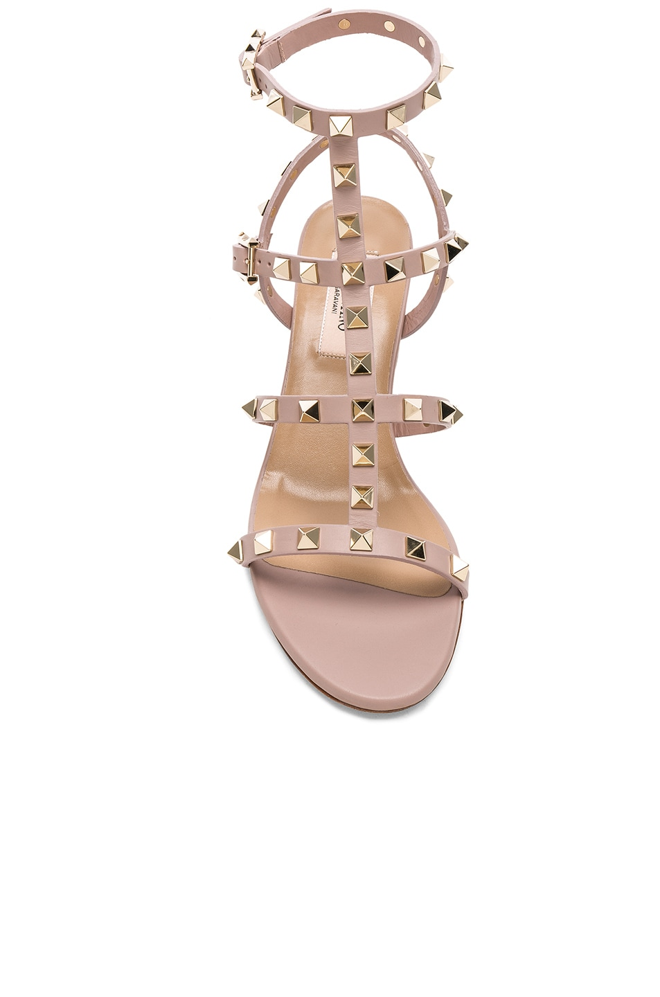 Image 4 of Valentino Leather Rockstud Sandals in Poudre