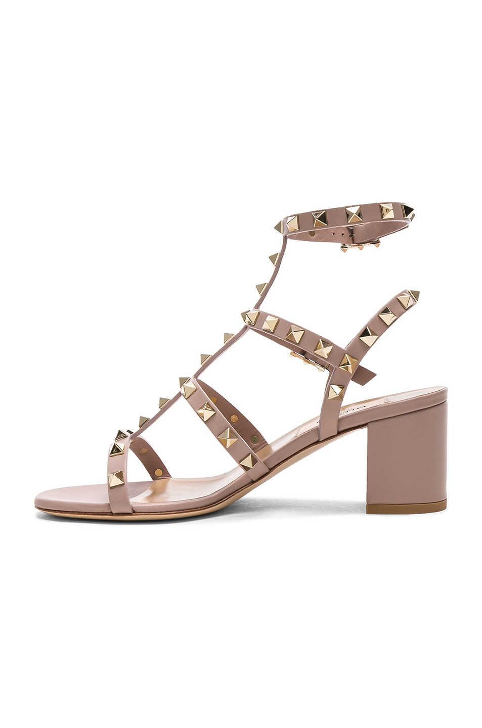 Image 5 of Valentino Leather Rockstud Sandals in Poudre