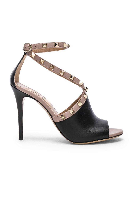 Valentino Leather Rockstud Open Toe Heels in . BIulf