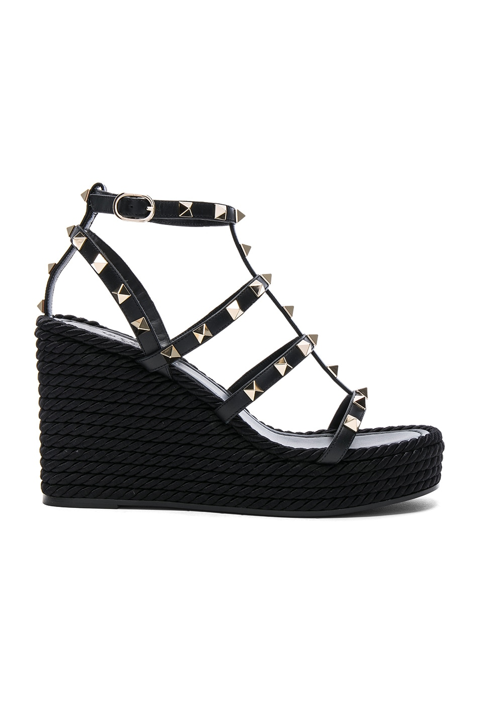 7596a191db3 Valentino Torchon Rockstud Leather Wedge Sandals In Black