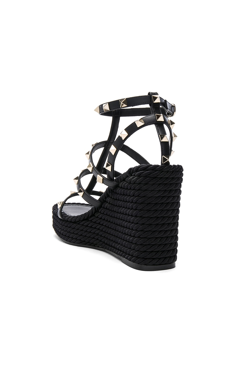 Image 3 of Valentino Rockstud Espadrille Wedges in Black