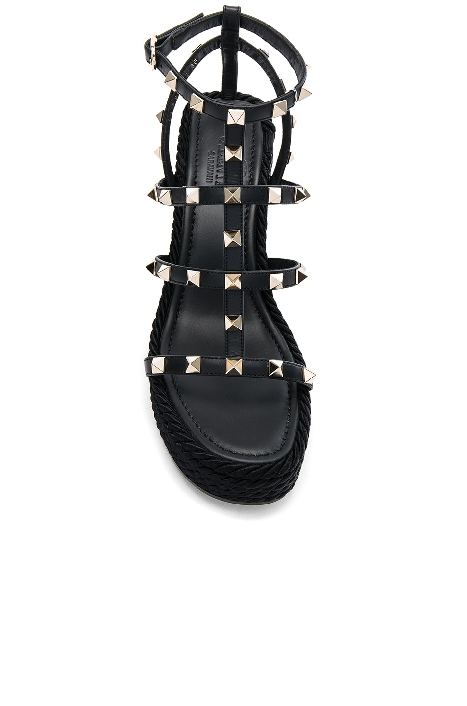 Image 4 of Valentino Rockstud Espadrille Wedges in Black