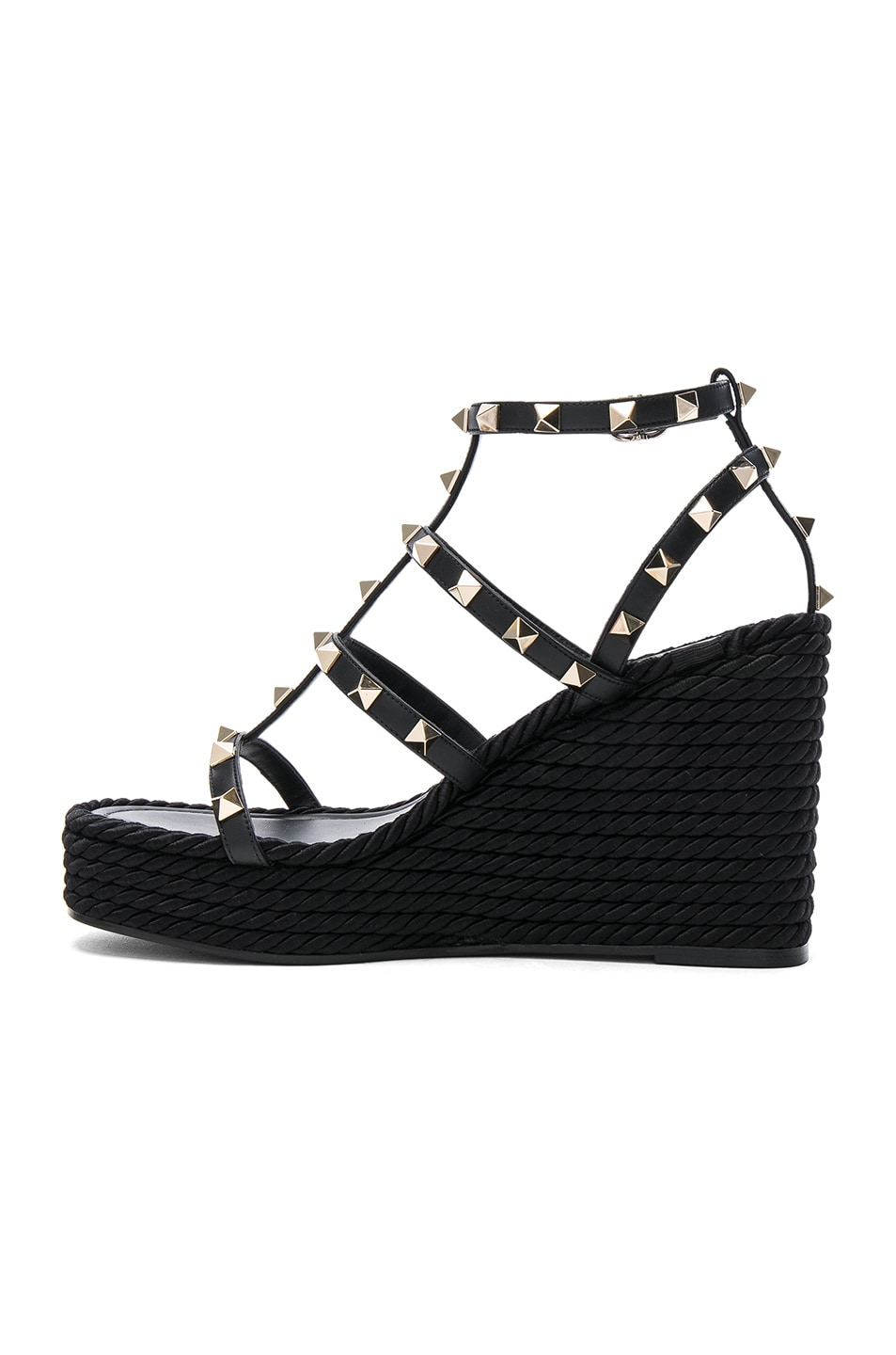 Image 5 of Valentino Rockstud Espadrille Wedges in Black