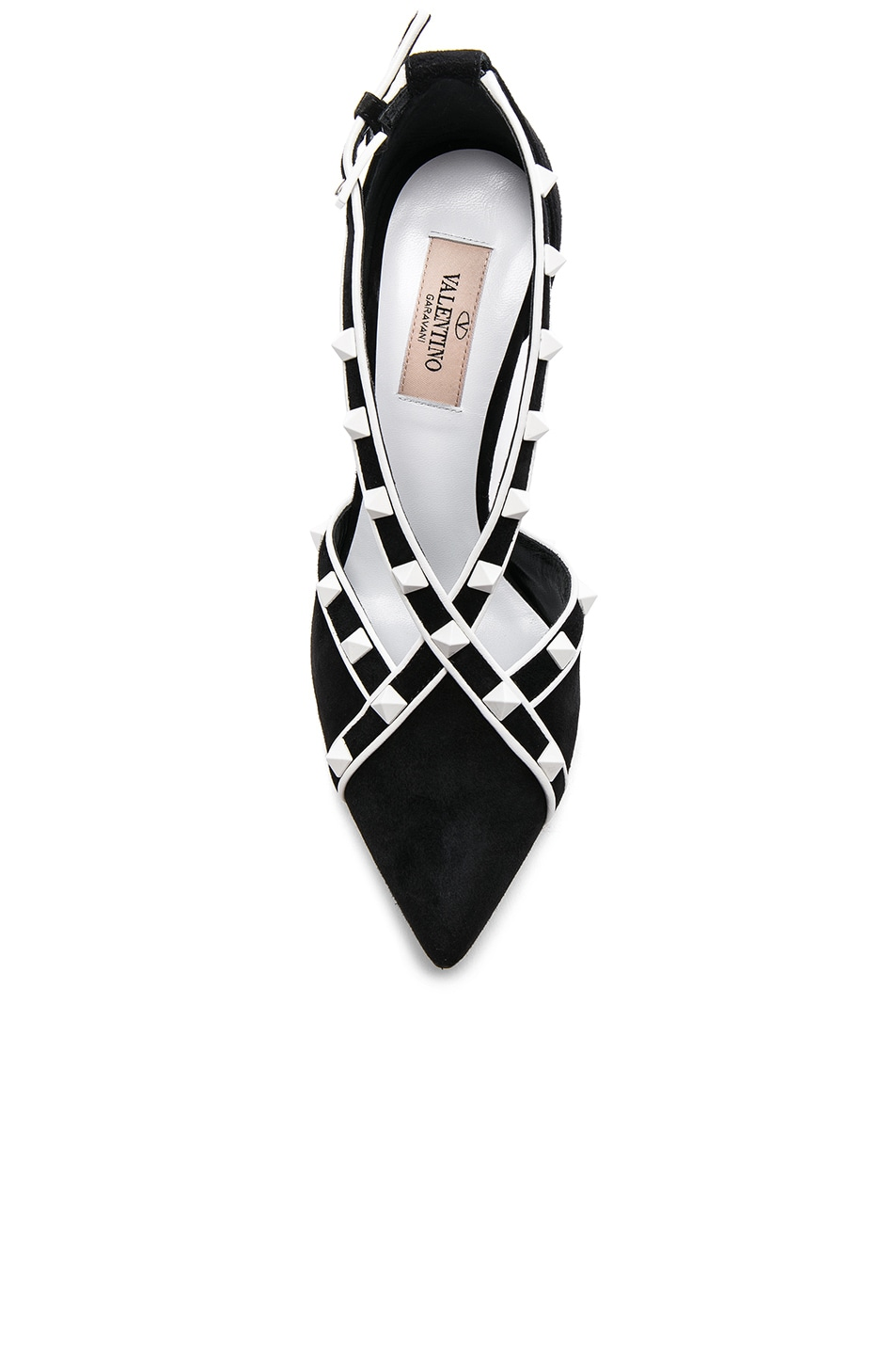 Image 4 of Valentino Free White Rockstud Heels in Black & Optic White