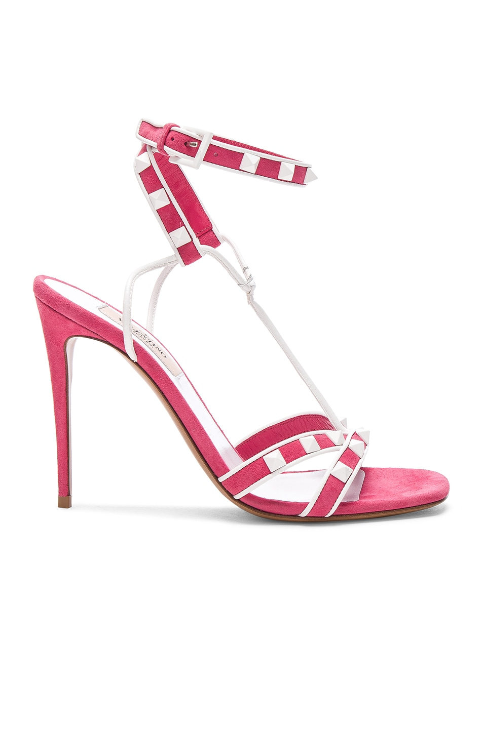 732f6c93b Image 1 of Valentino Free Rockstud Ankle Strap Sandals in Shadow Pink &  White