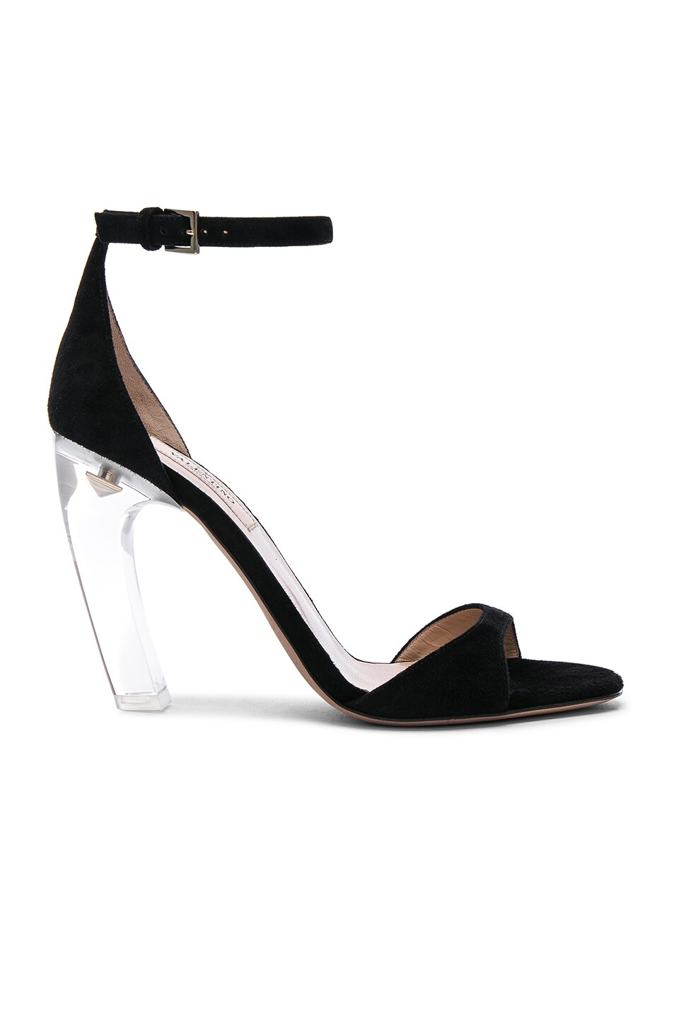 Image 1 of Valentino Suede Twinkles Ankle Strap Sandals in Black