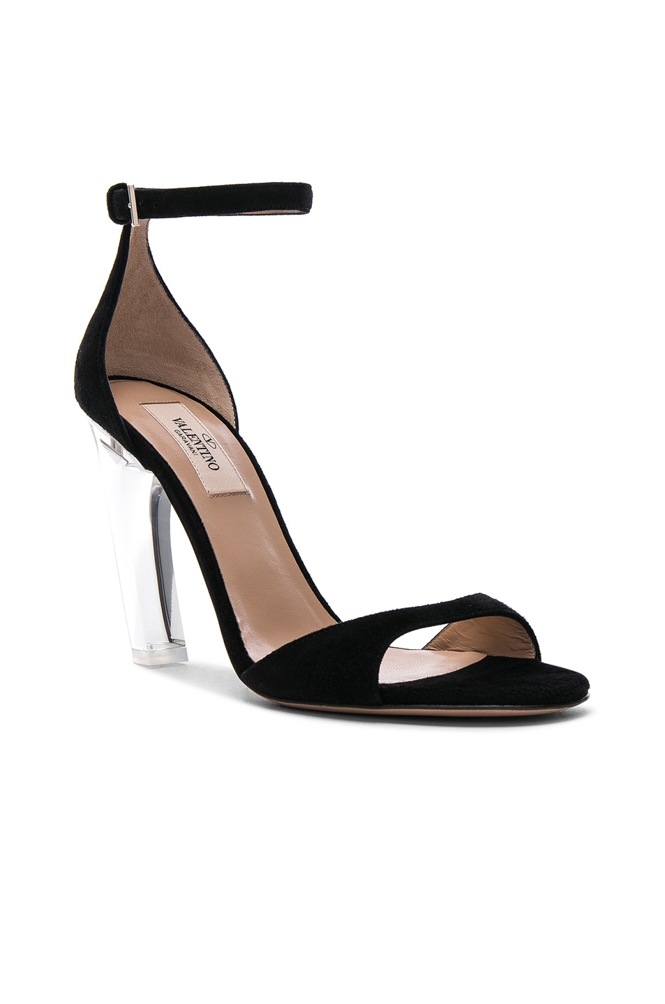 Image 2 of Valentino Suede Twinkles Ankle Strap Sandals in Black