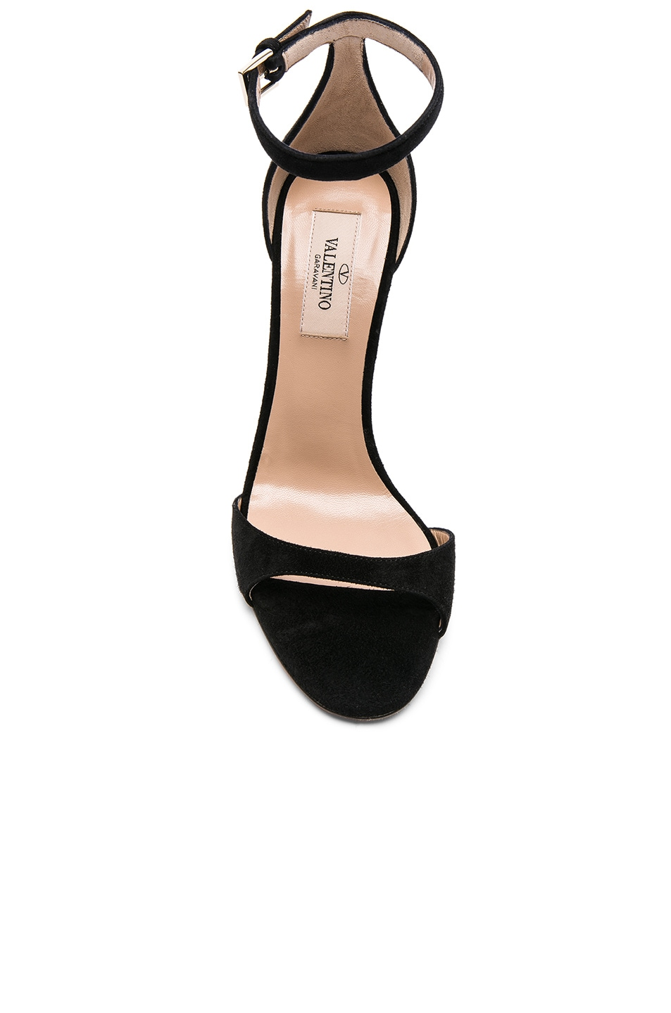 Image 4 of Valentino Suede Twinkles Ankle Strap Sandals in Black