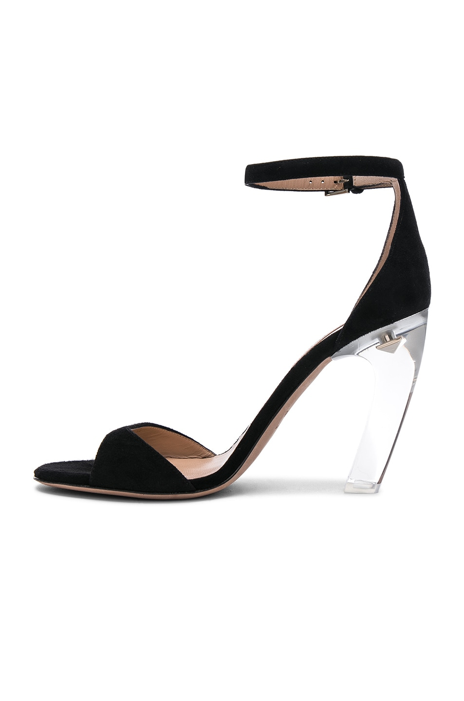 Image 5 of Valentino Suede Twinkles Ankle Strap Sandals in Black