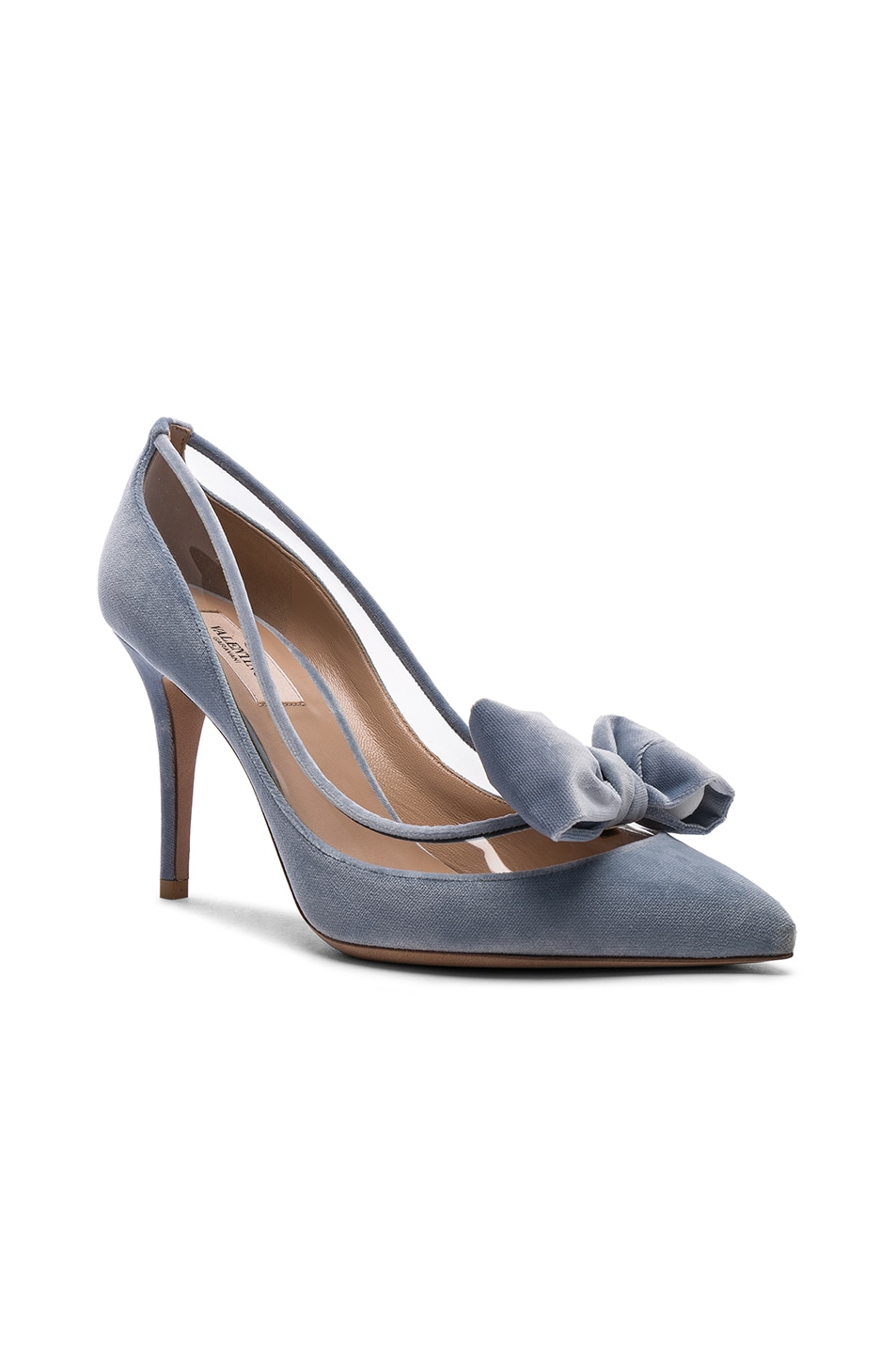 Image 2 of Valentino Velvet Dollybow Removable Bow Pumps in Celeste & Transparent