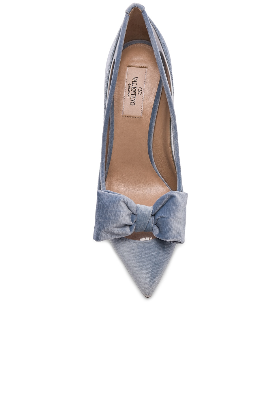 Image 4 of Valentino Velvet Dollybow Removable Bow Pumps in Celeste & Transparent