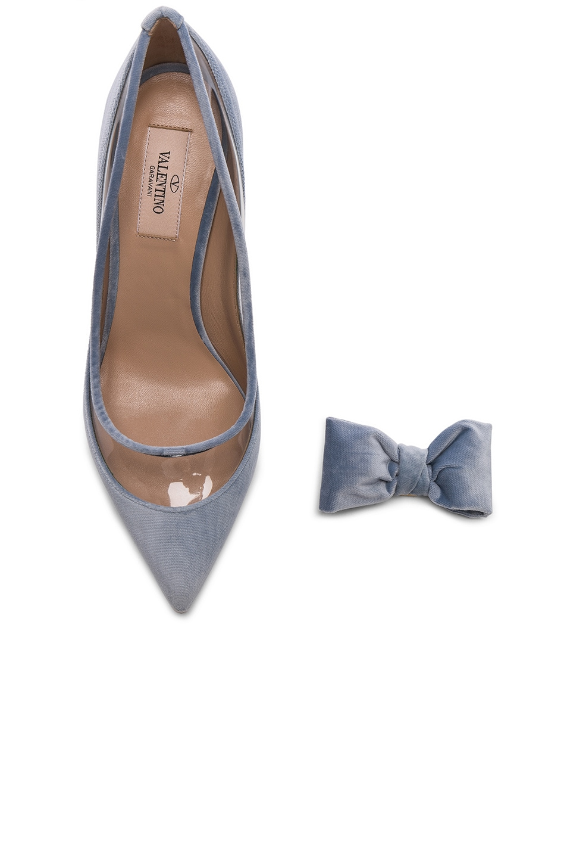 Image 7 of Valentino Velvet Dollybow Removable Bow Pumps in Celeste & Transparent