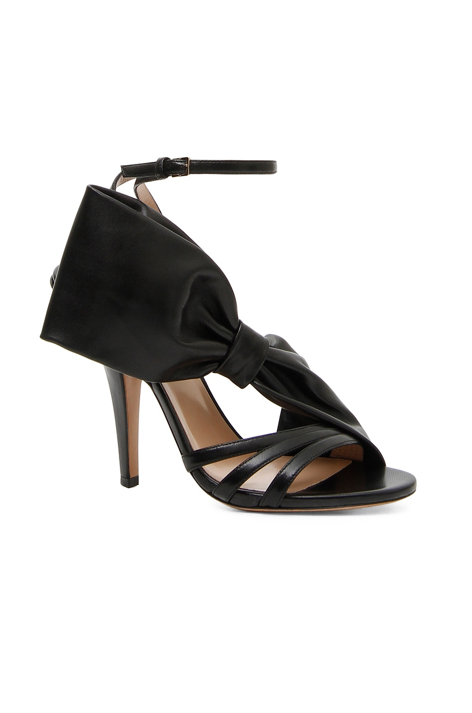 64e881d3e Image 1 of Valentino Leather Side Bow Ankle Strap Sandals in Black