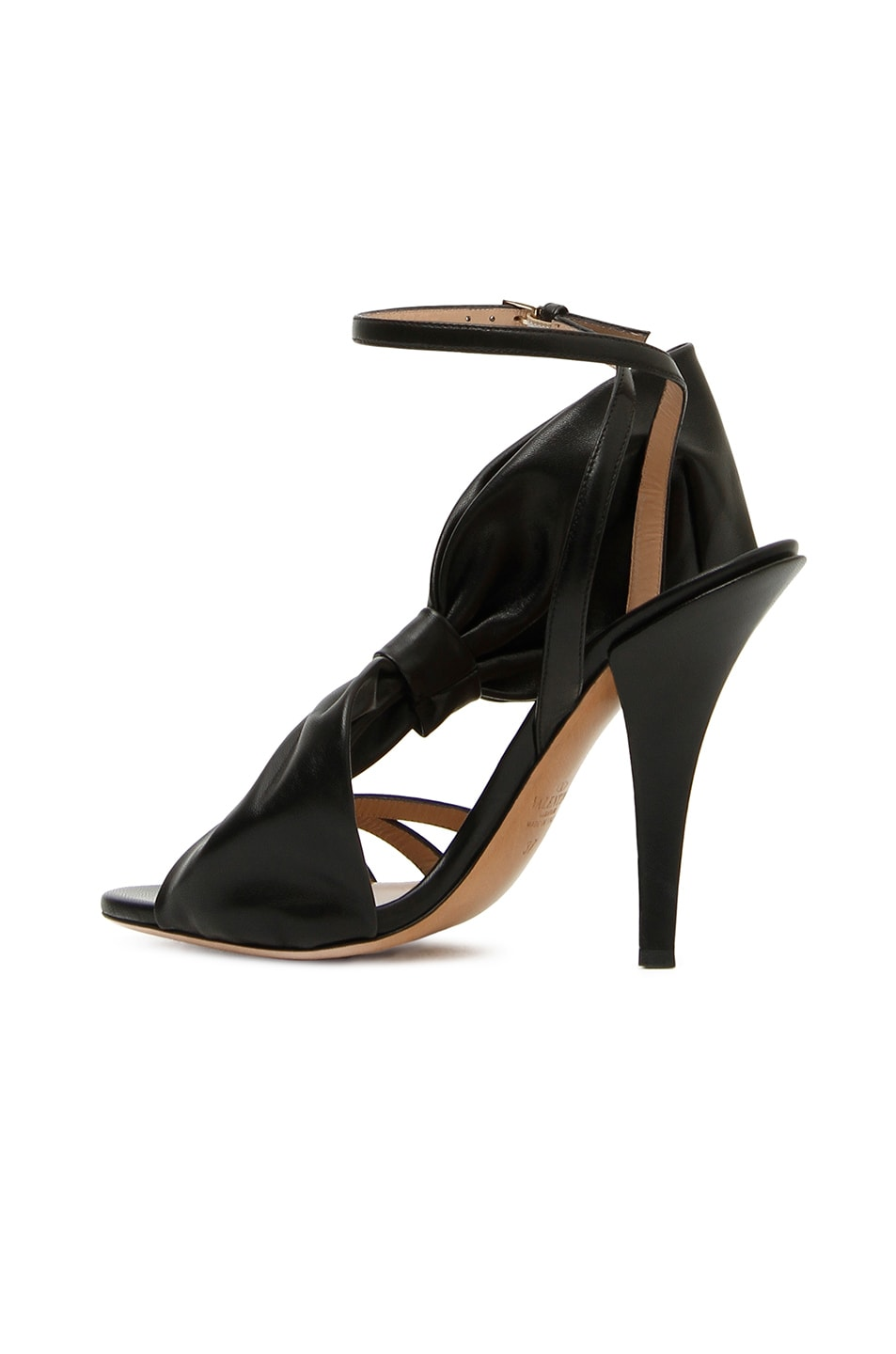 Image 2 of Valentino Leather Side Bow Ankle Strap Sandals in Black