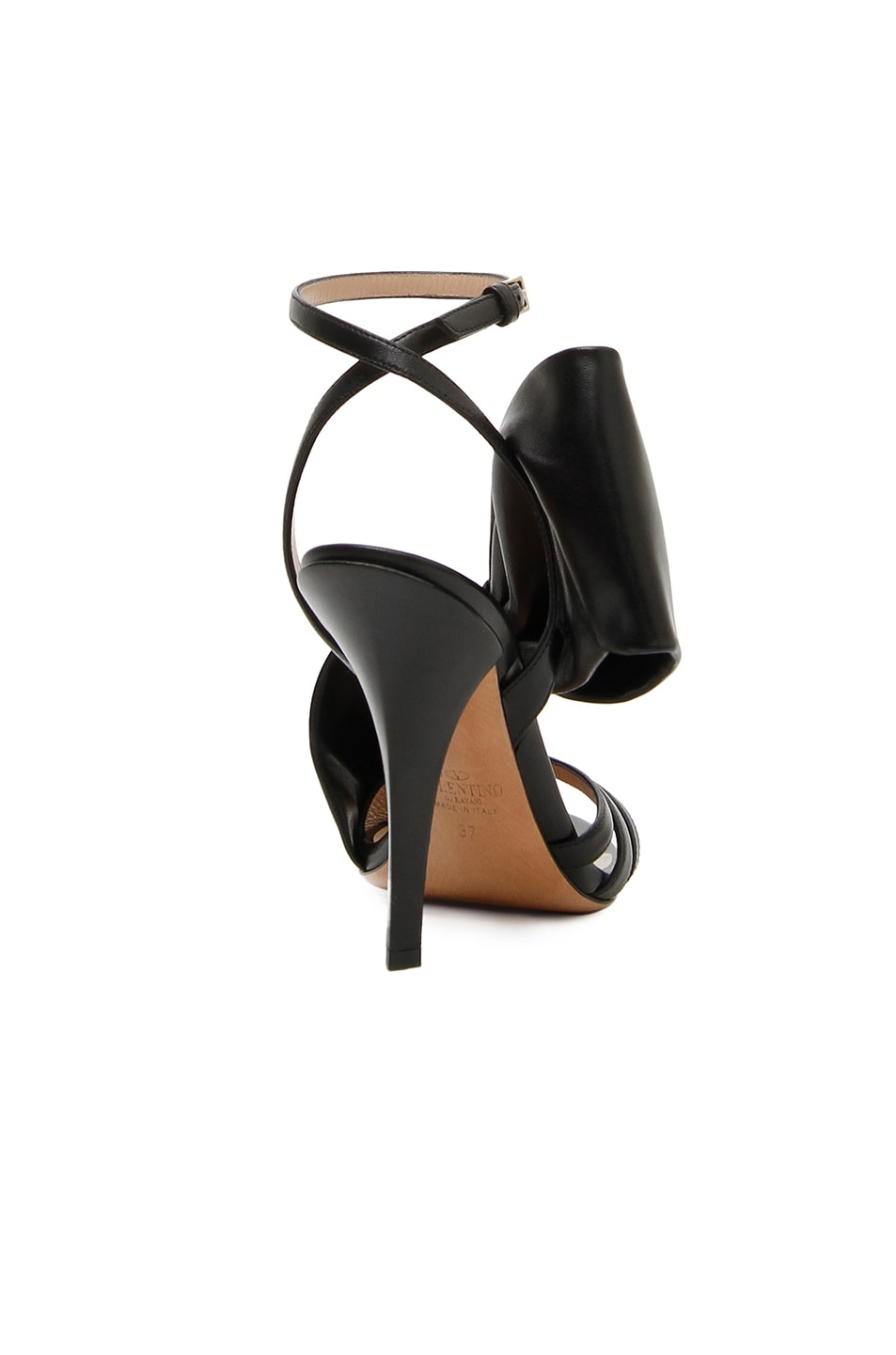 Image 3 of Valentino Leather Side Bow Ankle Strap Sandals in Black
