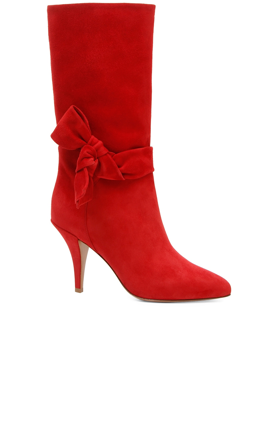 Image 1 of Valentino Suede Side Bow Boots in Red