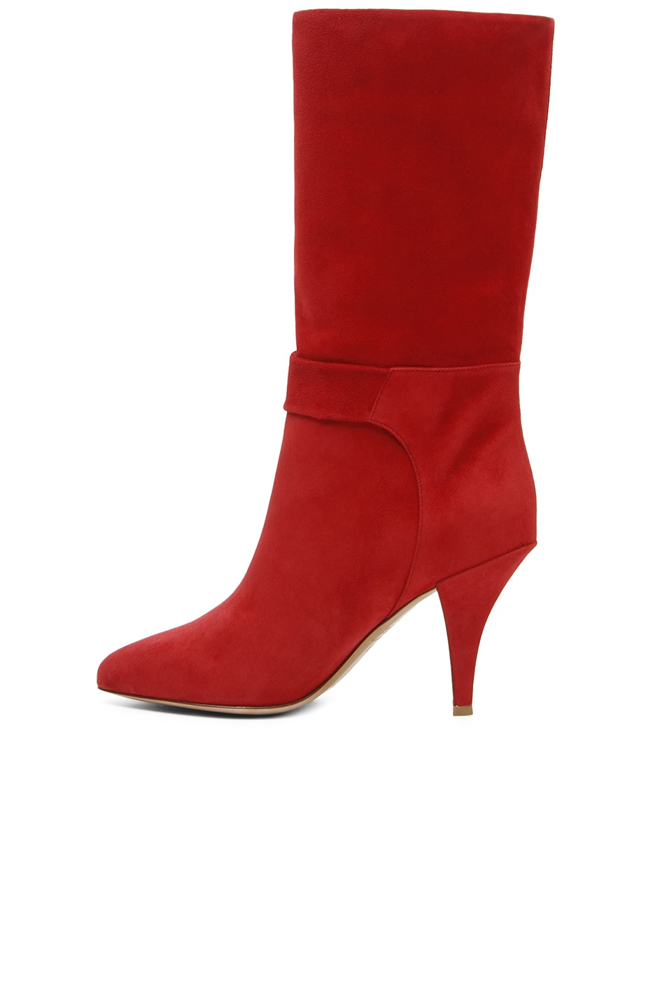 Image 2 of Valentino Suede Side Bow Boots in Red