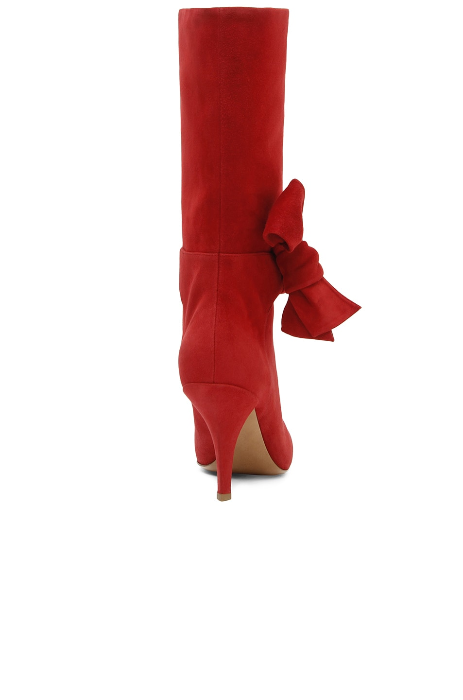 Image 3 of Valentino Suede Side Bow Boots in Red