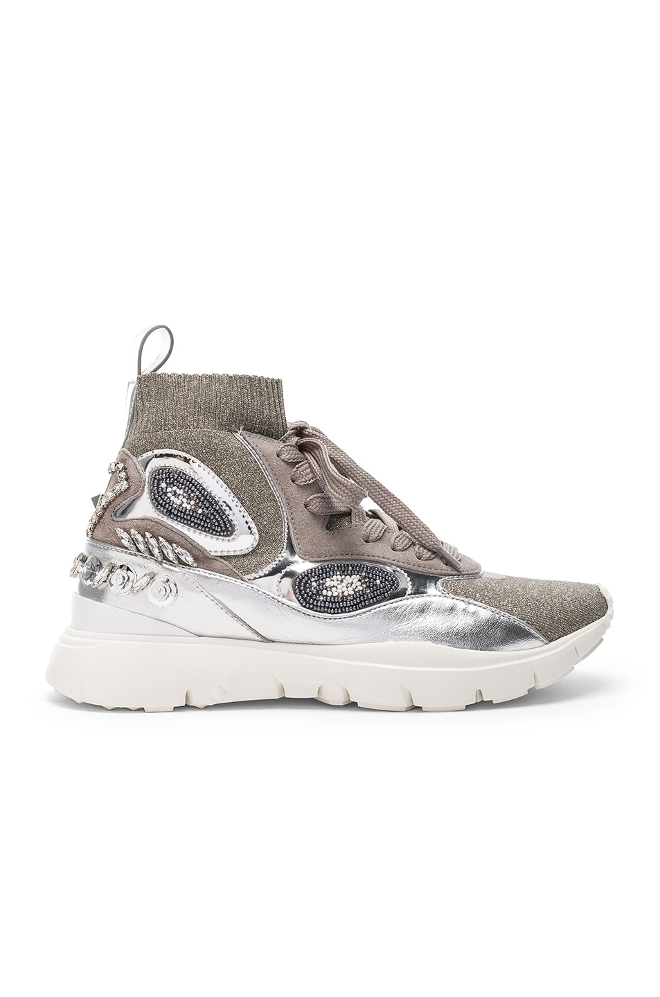 Image 1 of Valentino Heroes Her Embellished High Top Sneakers in Silver & White