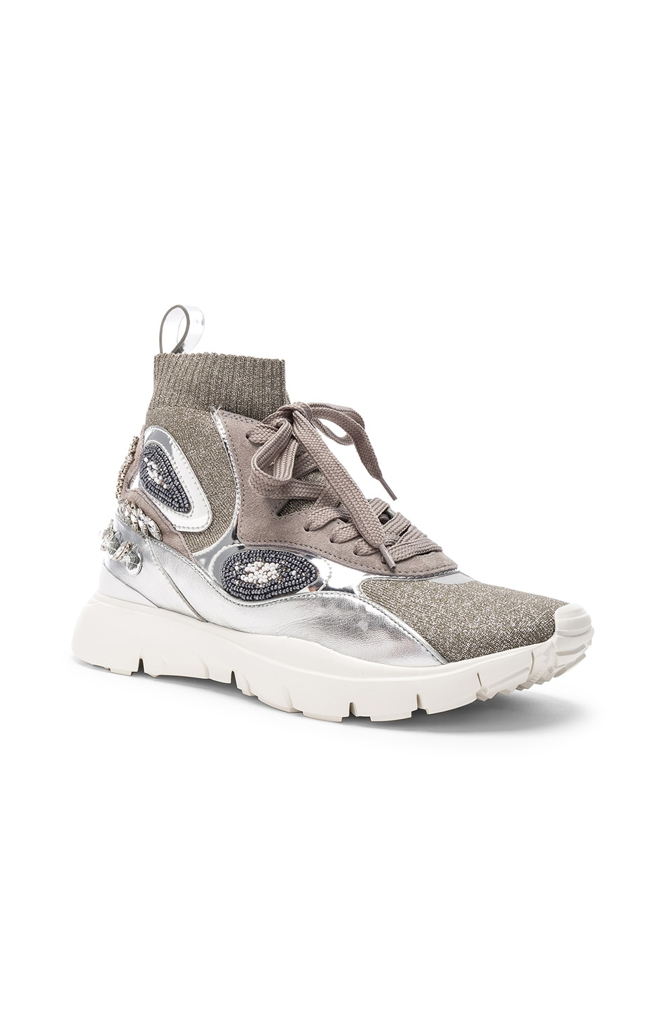 Image 2 of Valentino Heroes Her Embellished High Top Sneakers in Silver & White