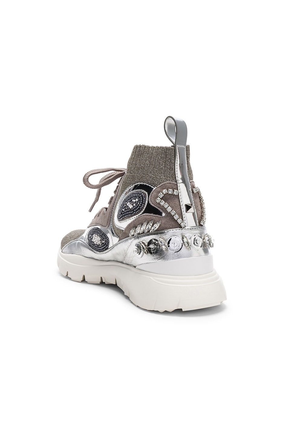 Image 3 of Valentino Heroes Her Embellished High Top Sneakers in Silver & White