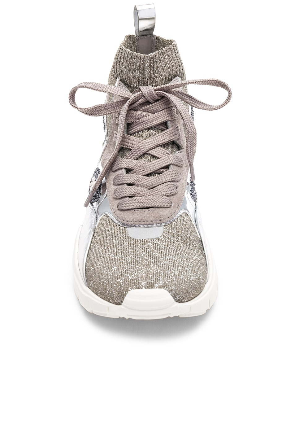 Image 4 of Valentino Heroes Her Embellished High Top Sneakers in Silver & White