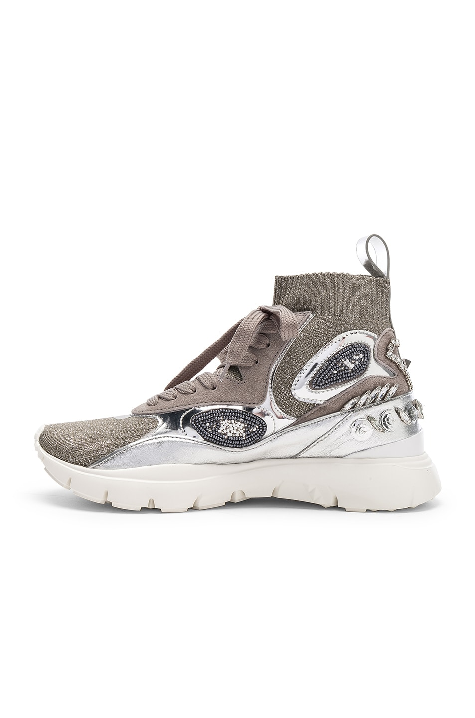 Image 5 of Valentino Heroes Her Embellished High Top Sneakers in Silver & White