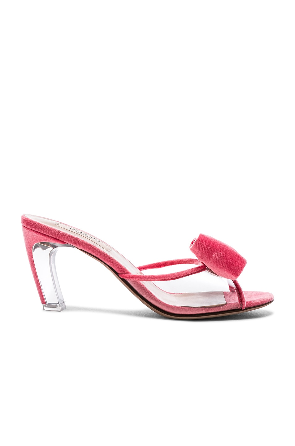 Image 1 of Valentino Velvet Glassglow Removable Bow Mules in Shadow Pink & Transparent