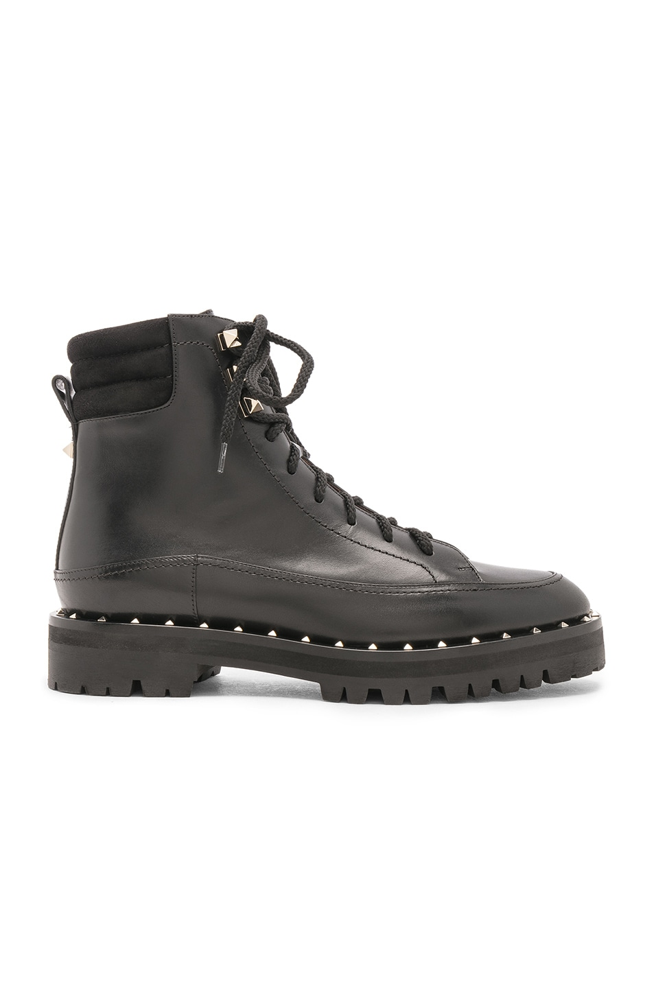 Image 1 of Valentino Leather Soul Rockstud Hiking Boots in Black