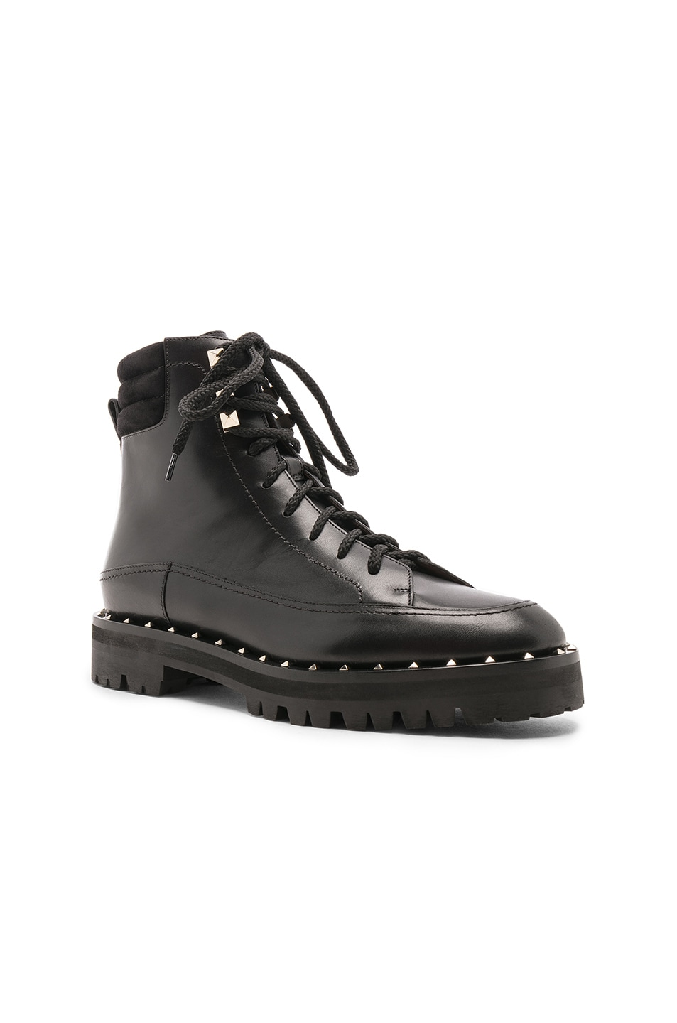 Image 2 of Valentino Leather Soul Rockstud Hiking Boots in Black