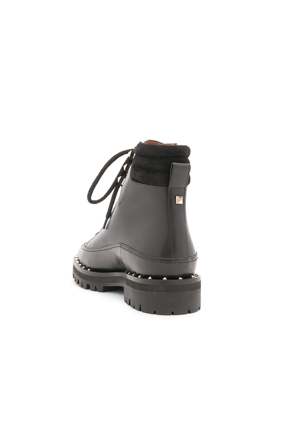 Image 3 of Valentino Leather Soul Rockstud Hiking Boots in Black