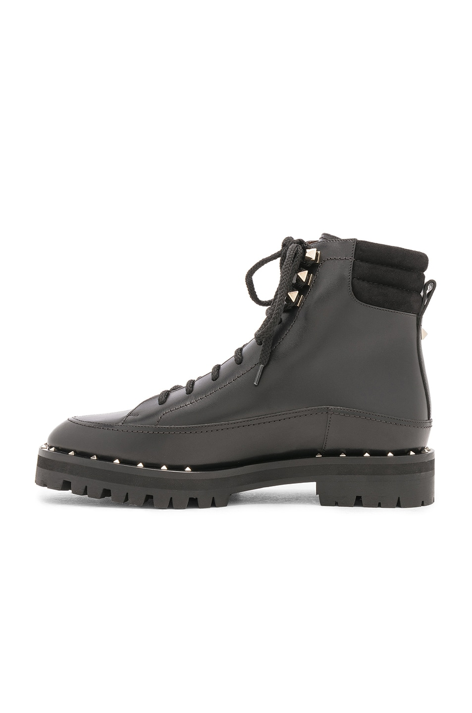 Image 5 of Valentino Leather Soul Rockstud Hiking Boots in Black