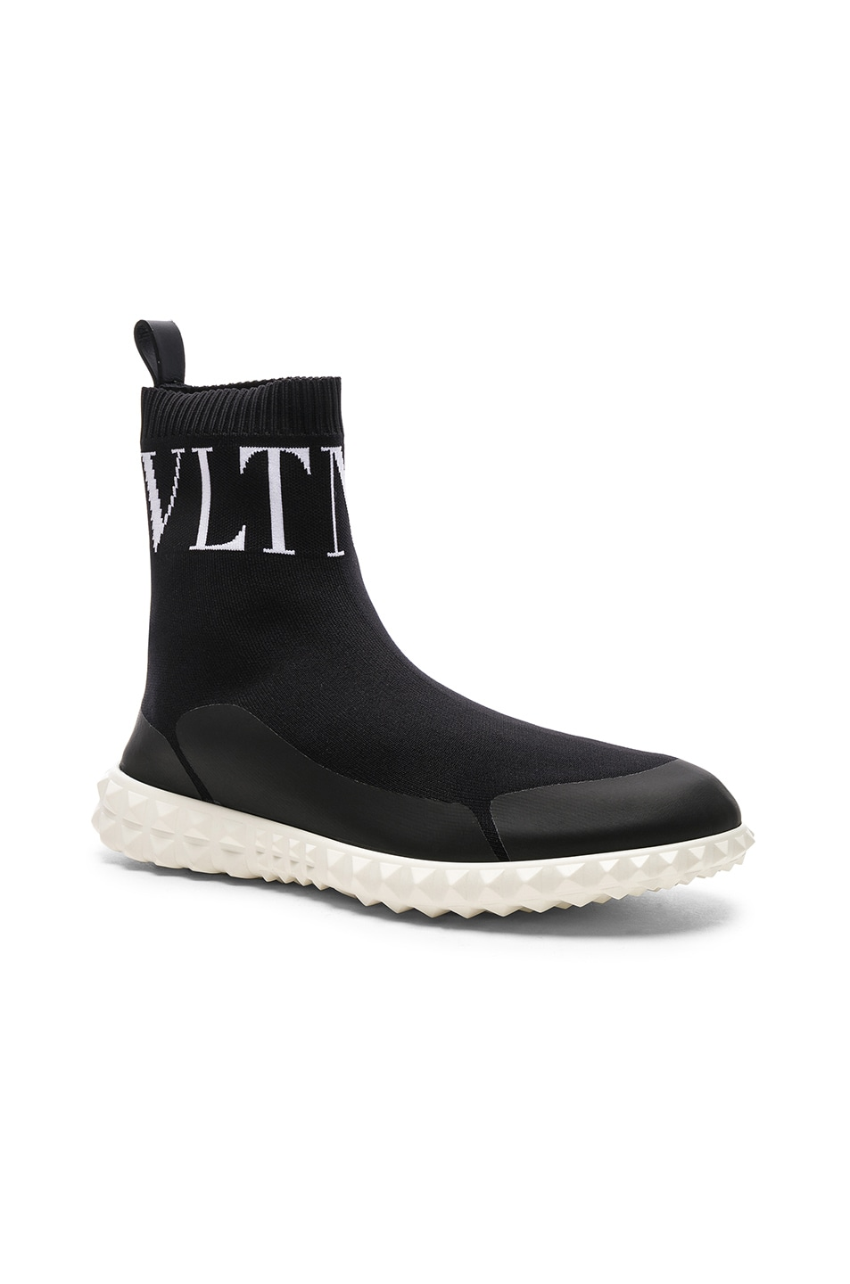 Image 3 of Valentino VLTN High Top Sock Sneakers in Black & White