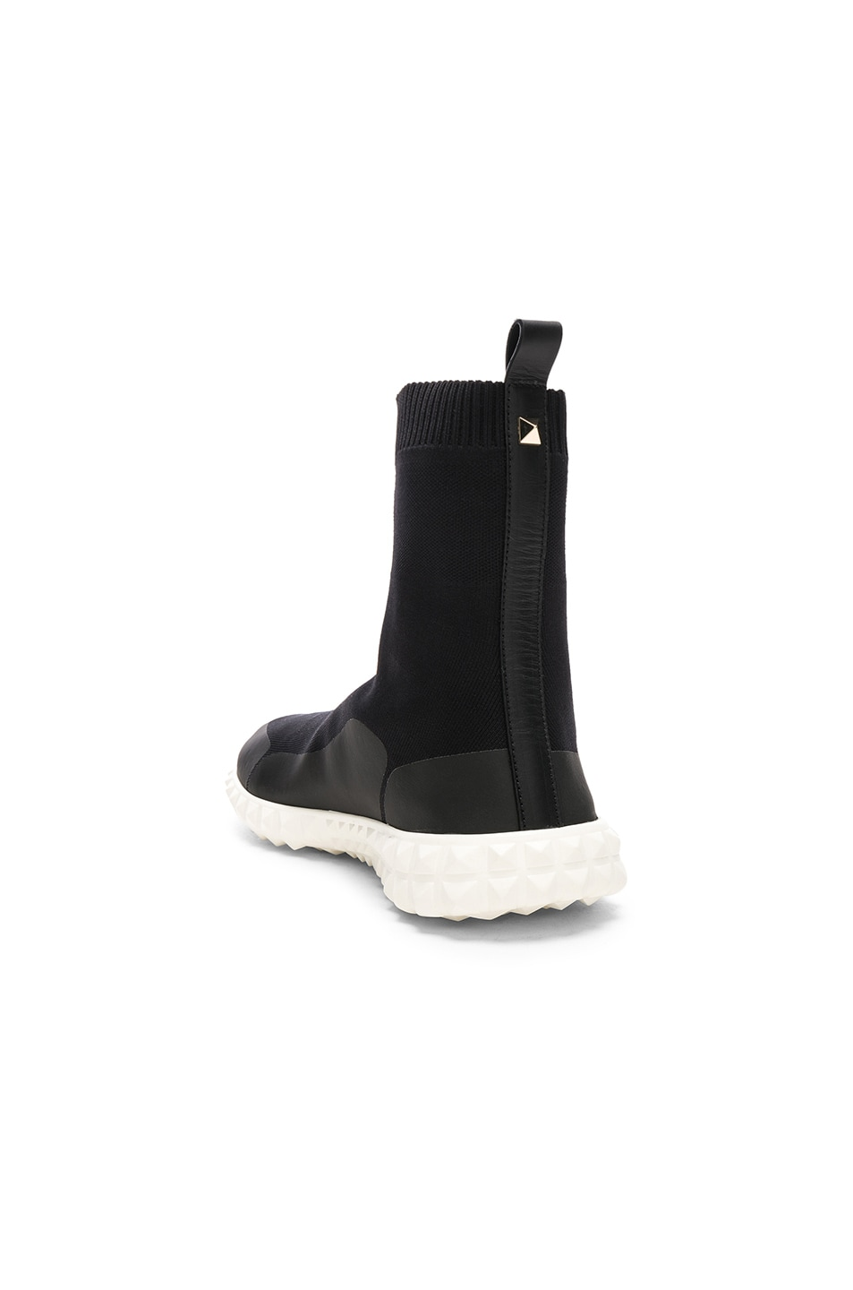Image 4 of Valentino VLTN High Top Sock Sneakers in Black & White