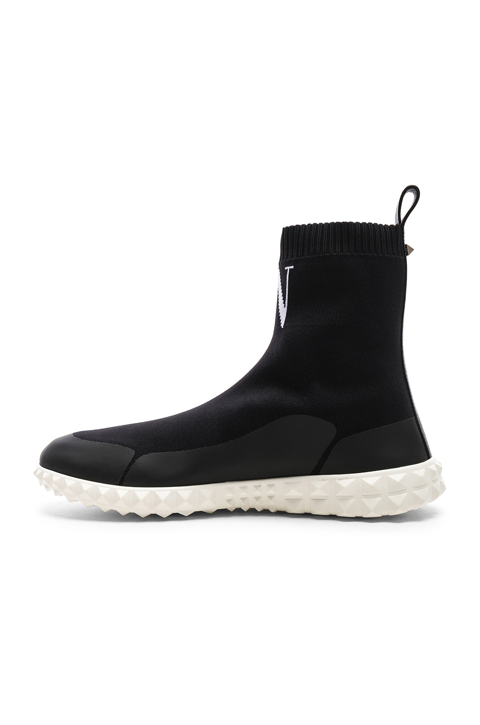 Image 5 of Valentino VLTN High Top Sock Sneakers in Black & White