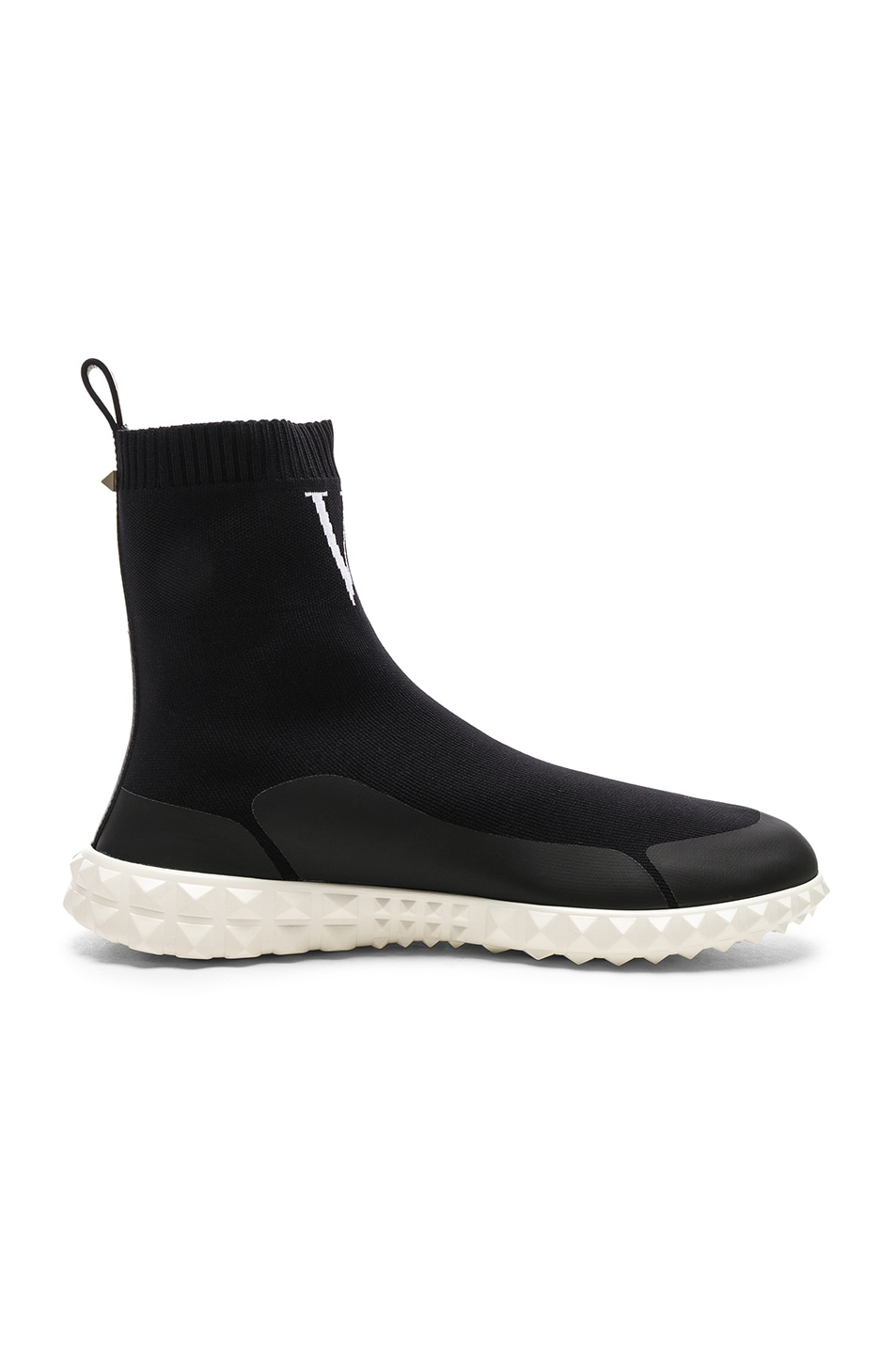 Image 7 of Valentino VLTN High Top Sock Sneakers in Black & White