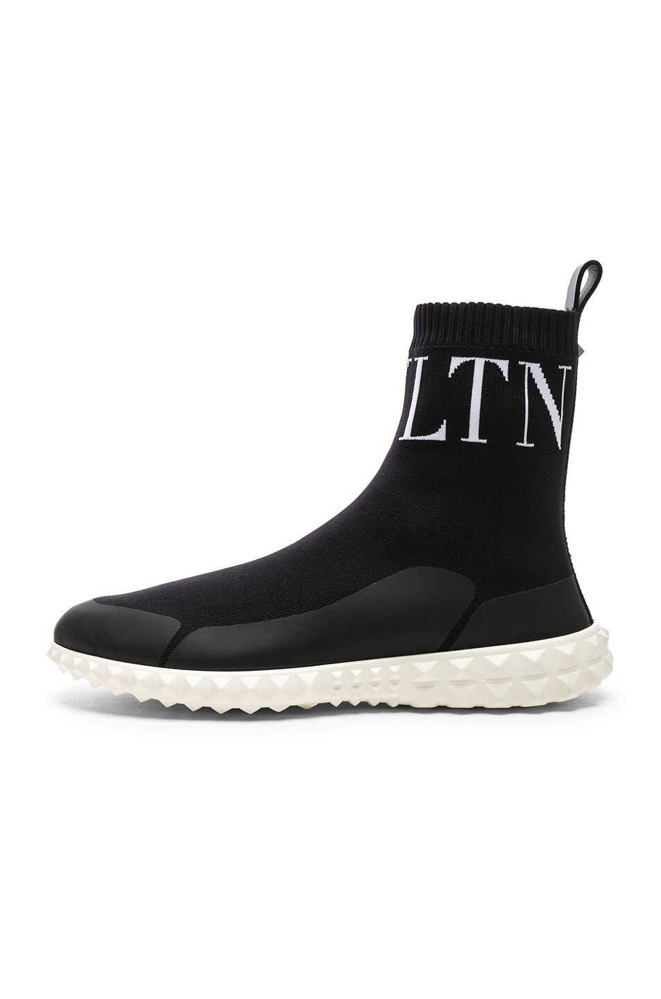 Image 8 of Valentino VLTN High Top Sock Sneakers in Black & White