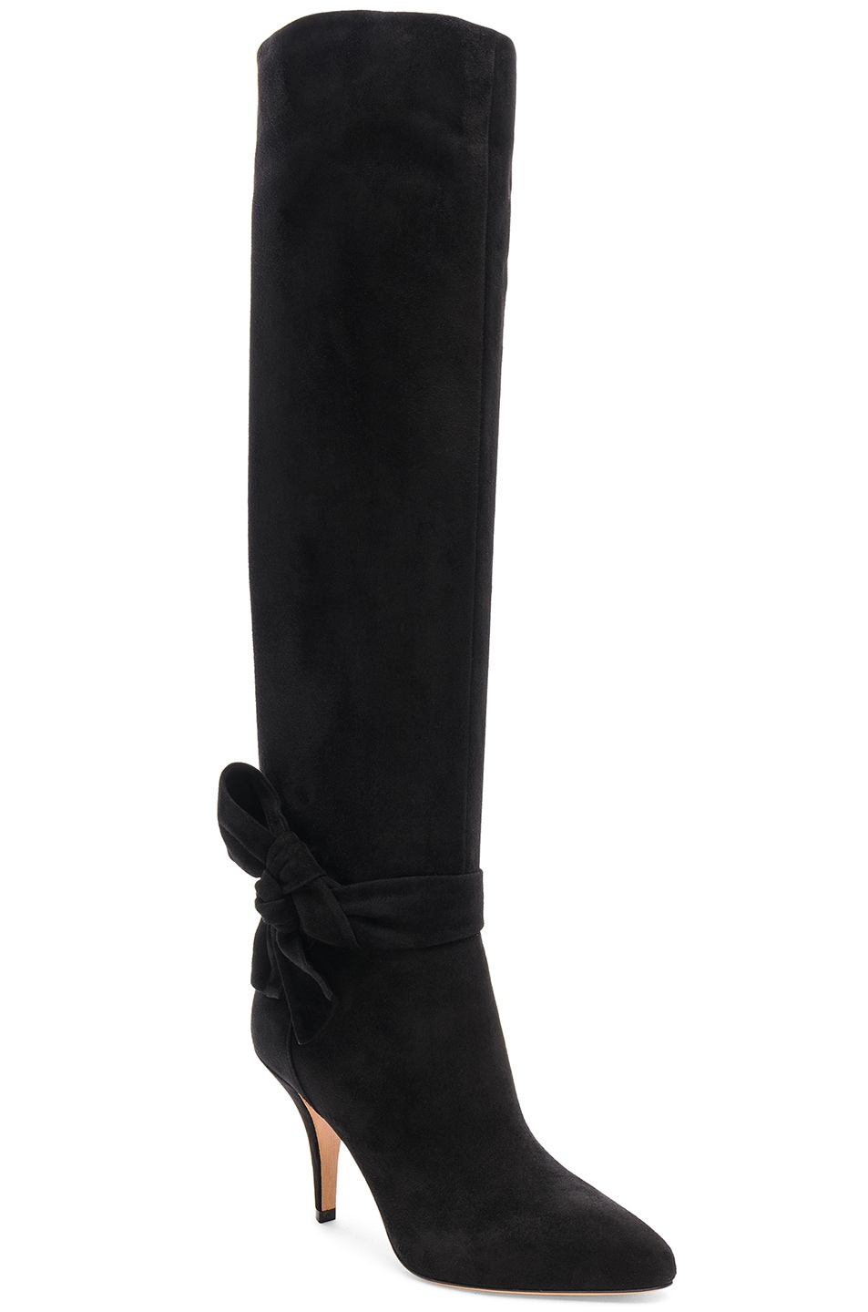 Image 2 of Valentino Suede Bow Knee High Boots in Black