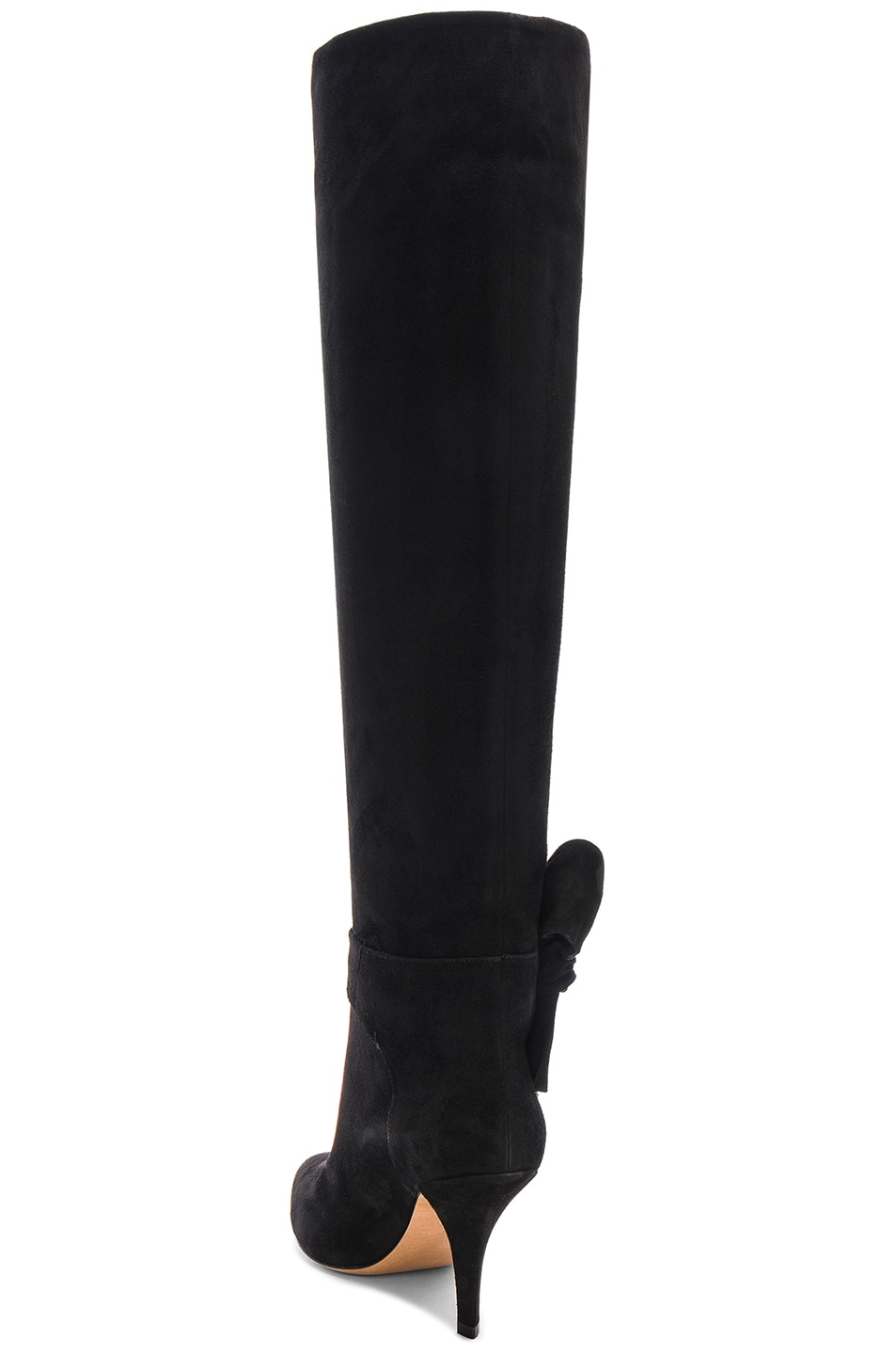 Image 3 of Valentino Suede Bow Knee High Boots in Black