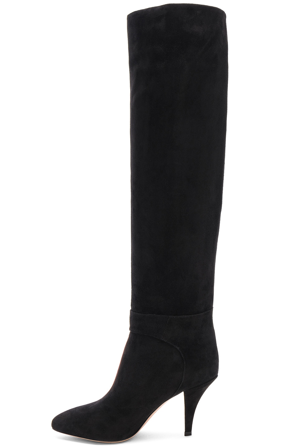 Image 5 of Valentino Suede Bow Knee High Boots in Black