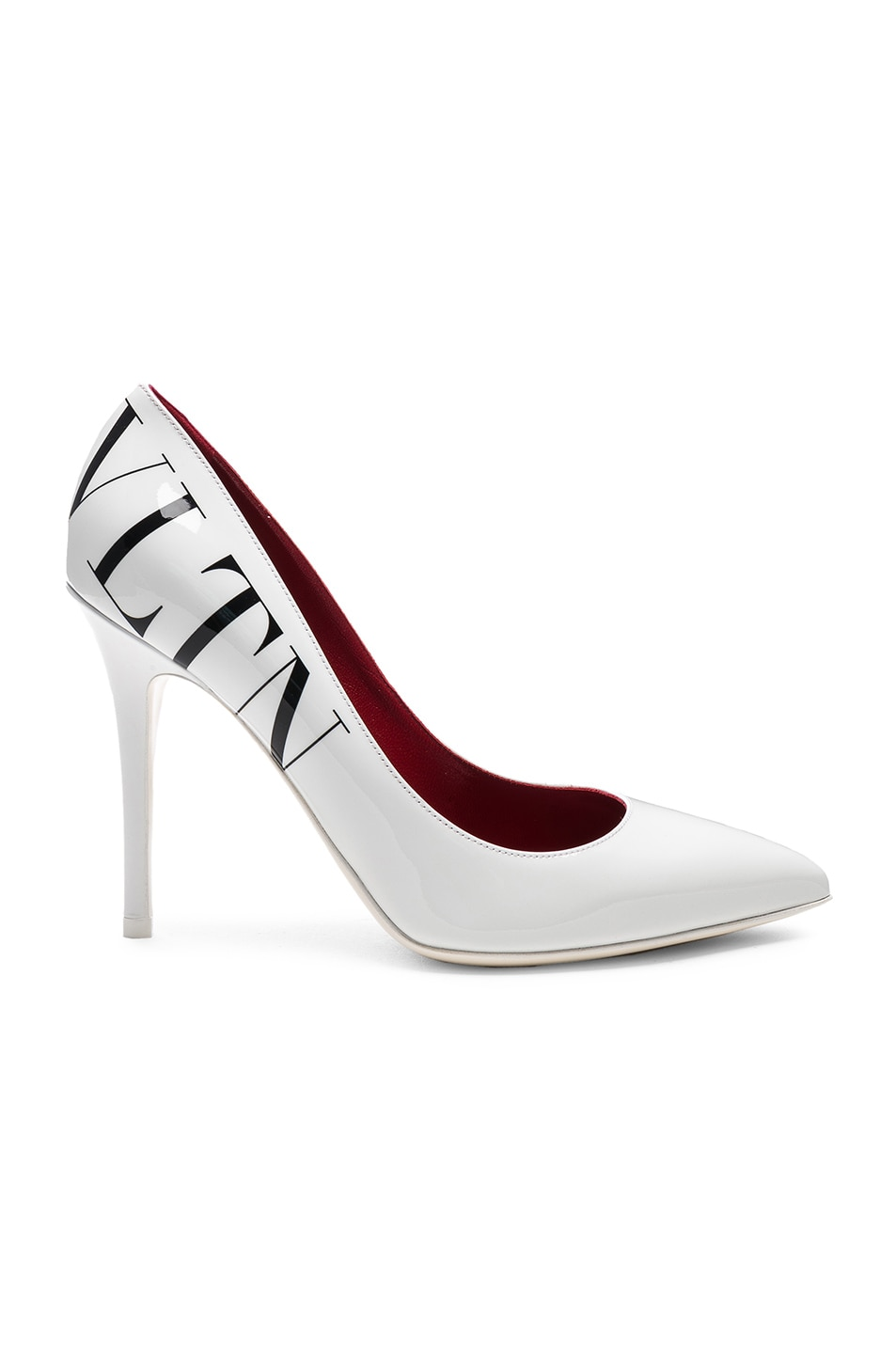 Image 1 of Valentino VLTN Print Patent Leather Pumps in Optic White & Black