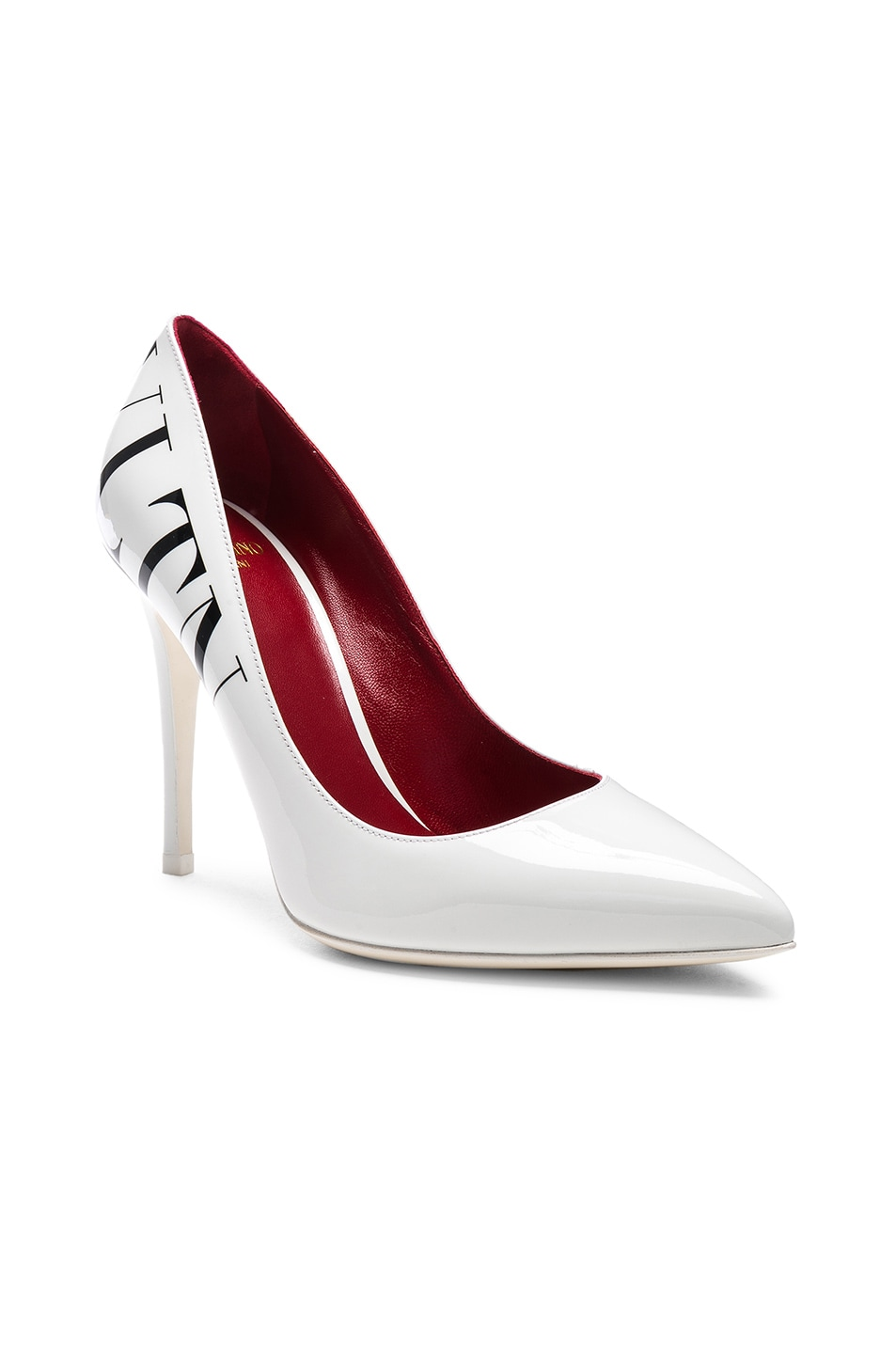 Image 2 of Valentino VLTN Print Patent Leather Pumps in Optic White & Black