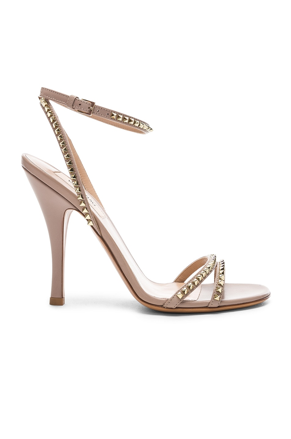 Image 1 of Valentino Leather Rockstud No Limit Ankle Strap Sandals in Poudre