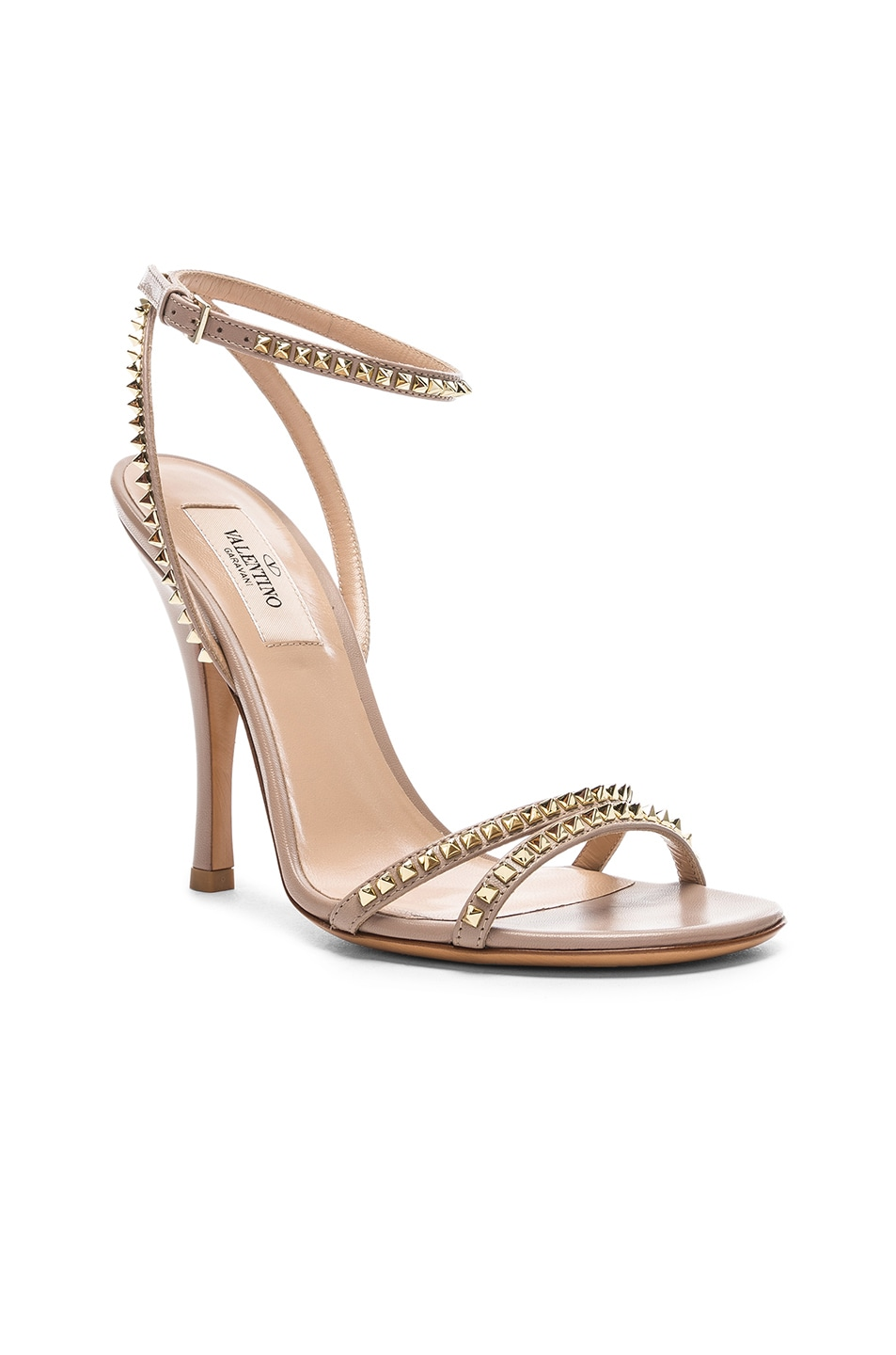 Image 2 of Valentino Leather Rockstud No Limit Ankle Strap Sandals in Poudre